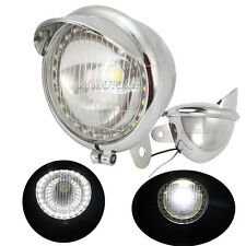"5"" Chrome Motorcycle Spot Light Passing Driving LED Halo For Suzuki Kawasaki VN"