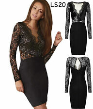 Sz 8 10 Black Sequin Long Sleeve Lace Cocktail Evening Party Slim Fit Mini Dress