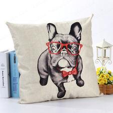 """18"""" Bulldog Printed Pattern Pillowcase Cotton Linen Sofa Throw Cushion Cover"""