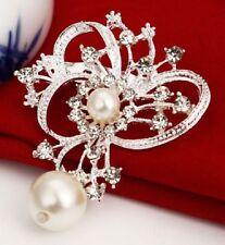 Faux Pearl Heart bow drop  Diamante Rhinestone Crystal Sparkly Wedding Brooch