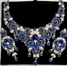 Indian Bollywood Blue Gold Crystal Jewellery set Necklace, Earring and Tikka