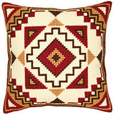 Geometric Red & Gold Chunky Cross Stitch cushion front tapestry canvas