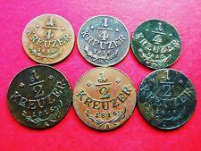 ÖSTERREICH 1/4 Kreuzer 1816 A/B/S 1/2 Kreuzer 1816 3XA LOT 6 Stück !!!