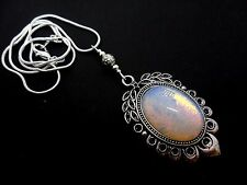 """A PRETTY OPALITE  CAMEO OVAL  PENDANT NECKLACE. 18"""" LONG. NEW."""