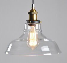 Modern Vintage Pendant Ceiling Light Clear Glass Lampshade Fitting Cafe Loft Bar