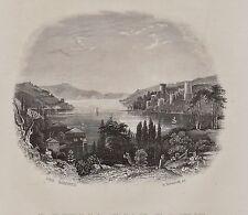 Türkei - Blick in den Bosporus - Original Stahlstich von B.Metzeroth 1859