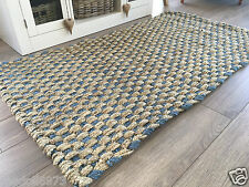 THICK BRAIDED CHUNKY JUTE RUG NATURAL BEIGE & TURQUOISE TEAL BLUE 90cm x 150cm