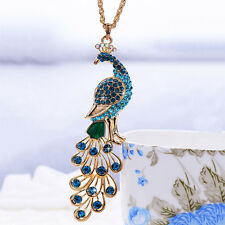 Beauty Gold Plated Crystal Peacock Pendant Necklace Sweater Chain Jewelry Gift