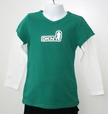 BNWT DKNY Girls Designer Long Sleeved Green & White T-Shirt Top Age 5