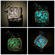 Charm Hollow Box Cute Locket Glow In The Dark Pendant Necklace Jewelry Lady Gift