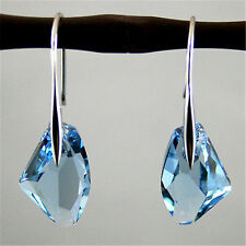 Fashion Women Aqua Blue Crystal Drop Silver Hook Dangle Earrings Party Jewelry