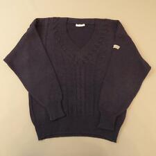 Mens ADIDAS Vintage Navy Blue V-Neck Cable Knit Jumper Sweater Medium #E1354