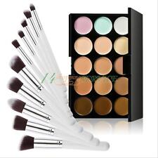 10pcs Make up Brush Set Powder Foundation Blusher+15 Colors Palette Concealer UK