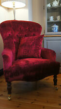 Large Buttonback Bampton Armchair in Laura ashley caitlyn cranberry