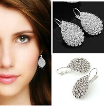 Fashion Women's Rhinestone Teardrop Silver Plated Hoop Dangle Earrings Jewelry