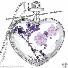 BLACK FRIDAY OFFER - NEW Silver Heart & Purple Flower Necklace Xmas Gift For Her