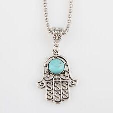 Hamsa Fatima Hand Anhänger mit Halskette 50+5 cm, Anhänger mit ein blauen Stein.