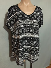 BNWT Womens Sz 16 Autograph Brand Paisley Flowers Black/White Tunic Top RRP $50