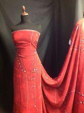 "NEW Designer Viscose Georgette Red Denim Print Fabric153cm60""Dress Blouse"