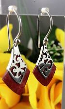 Sterling Silver Earrings Red Coral Dangle Aztec Gypsy Festival Surf Jewellery