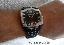 fette Police HAU Herrenuhr/Männeruhr Nieten-Armband schwarz #13634 XXL