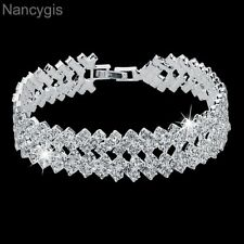 Luxury White Gold Plated Crystal Party Gift Bridal Wedding Bracelet