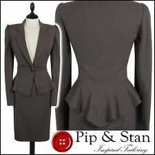NEXT UK8 US4 BROWN PEPLUM PENCIL SKIRT SUIT WOMENS LADIES SIZE