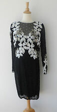 Vintage Black White Silver Hand Beaded Floral Silk Long Sleeve Dress 12 M