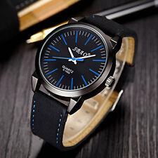 Men's Luxury Black Faced Sports Analog Quartz Black Leather Band Wrist Watch