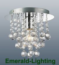 PALAZZO 1 BULB ROUND FLUSH FITTING CEILING LIGHT CLEAR CRYSTAL DROPLETS CHROME