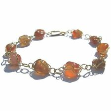 CARNELIAN STONE GOLD COLOURED  BRACELET CHAIN BANGLE