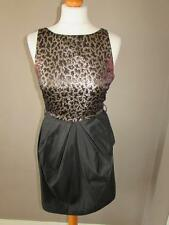 RIVER ISLAND STARLET Ladies Black & Gold Animal Print Party Dress Size 10 VGC
