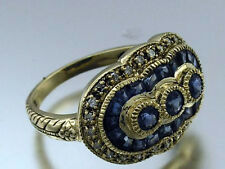 C157 Genuine 9ct Solid Gold NATURAL Sapphire & Diamond Ring Trilogy in your size