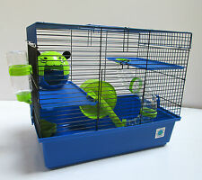 Dexter Large Blue & Lime Hamster Cage Small Animal Cage 2 Storey With Tubes