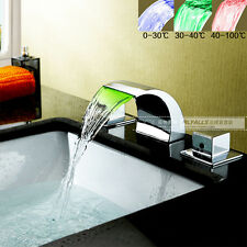 LED Vanity Sink Waterfall Mixer Tap Bathroom Basin Faucet Brass Chrome Finished