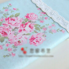 Blue Large Floral Cotton Bedding Sheeting Homeware Craft Shabby Chic 1M Fabric