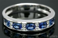 Natural Blue Sapphire & Diamond Solid 18k White Gold Channel Set Band Ring Sz Q