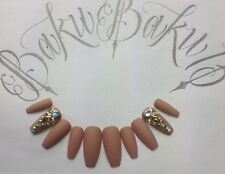 Hand Painted False Nails Matte Nude Coffin Diamonds Full Cover Tips