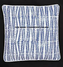 "16"" BLUE INDIGO KANTHA CUSHION PILLOW THROW COVER SOFA BOHEMIAN Boho India Decor"