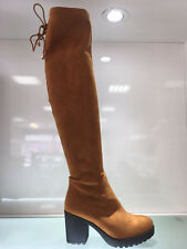 LADIES WOMENS OVER KNEE CAMEL/BROWN SUEDE FAUX MID BLOCK HEEL BOOTS SHOES SIZE 3