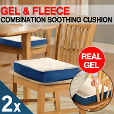 2 X Memory Foam and Gel Cushion Fleece Cover Office Chair Seat Car Stress Relief