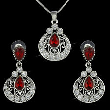 Vintage Crystal Ruby Teardrop Pendant Necklace +Earrings Party Jewelry Set Gifts