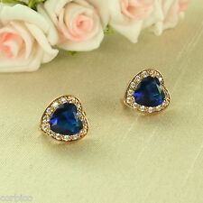 E3 Rose Gold Plated Deep Blue Crystal Heart Earrings - Gift Boxed