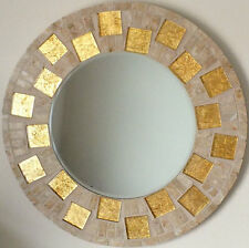 NEW LARGE MODERN ROUND WALL MOUNTED BEVELLED GLASS HANDMADE GOLD  MOSAIC MIRROR