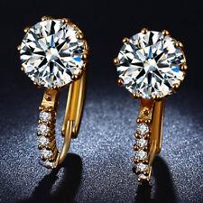 Ohrringe Creolen Zirkonia Kristall 750er Gold 18K Vergoldet Ohrstecker Damen