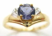 FINE 9KT YELLOW GOLD ROUND IOLITE & DIAMOND RING SIZE 7     R1480