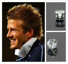 Men's Boys Silver/White Gold Effect Magnetic Designer 8mm Crystal Round Earrings