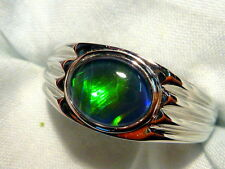 Mens Opal Ring Sterling Silver, Natural Opal Triplet 10x8mm Oval item 90802.