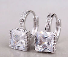 14k White Gold Plated Earrings Cubic Zircon Crystal Clear Stone Bridal Jewelry