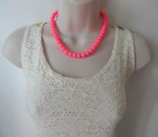 """Beautiful 16"""" long bright shiny neon pink 10mm glass bead necklace  * NEW"""